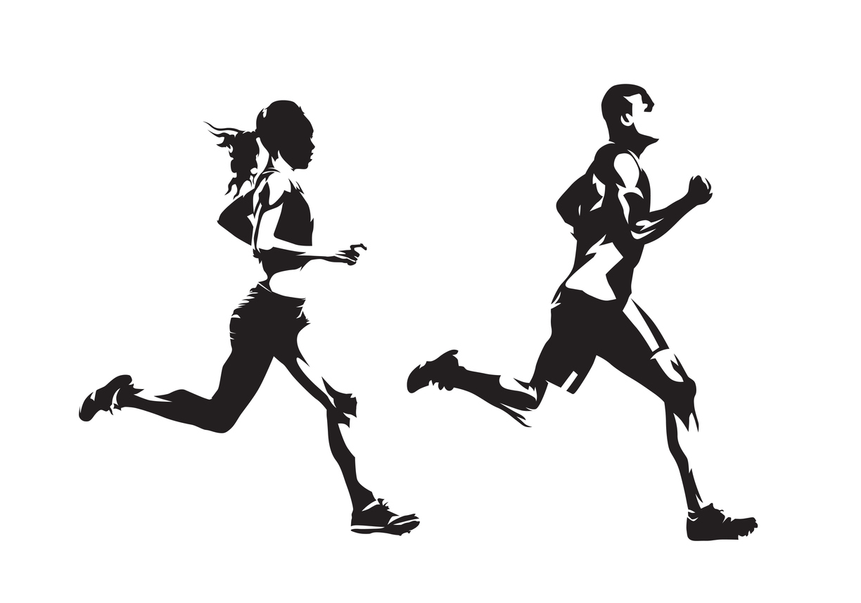 Sketch of a man and woman running in Bellingham, Washington.